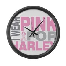 I wear pink for Harley Large Wall Clock