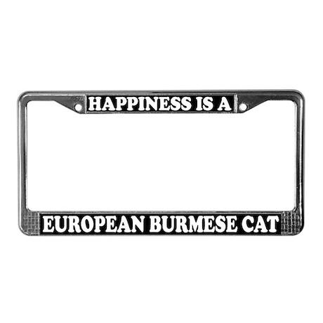Happiness European Burmese Cat License Plate Frame