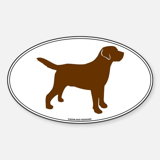 Chocolate Lab Outline Oval Decal