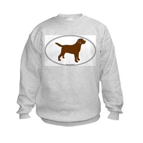 Chocolate Lab Outline Kids Sweatshirt