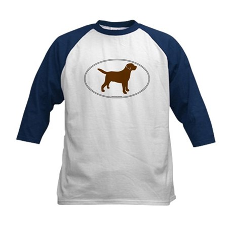 Chocolate Lab Outline Kids Baseball Jersey