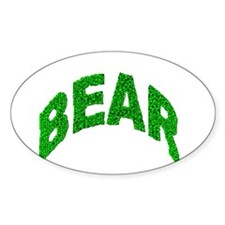 BEAR GREEN MOSAIC TEXT Oval Decal