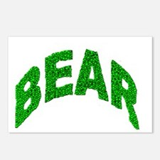 BEAR GREEN MOSAIC TEXT Postcards (Package of 8)