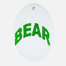 BEAR GREEN MOSAIC TEXT Oval Ornament