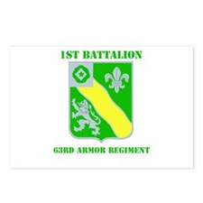 DUI - 1st Bn - 63rd Armor Regt with Text Postcards