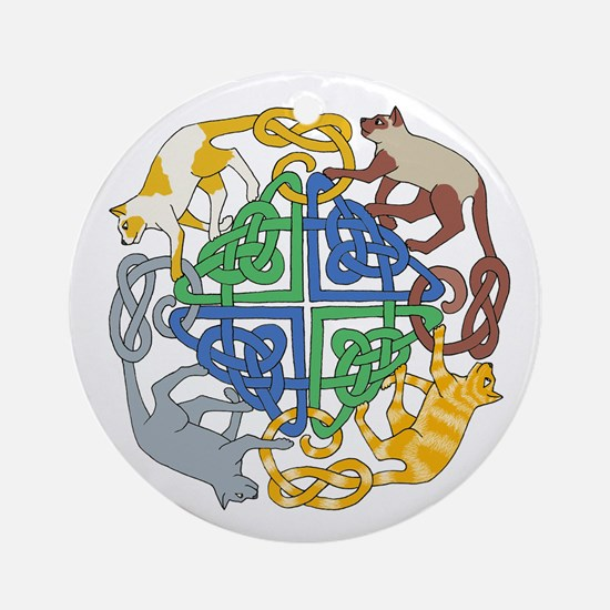 Four Cat Knot Ornament (Round)