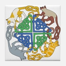 Four Cat Knot Tile Coaster