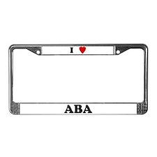 I Love Aba License Plate Frame