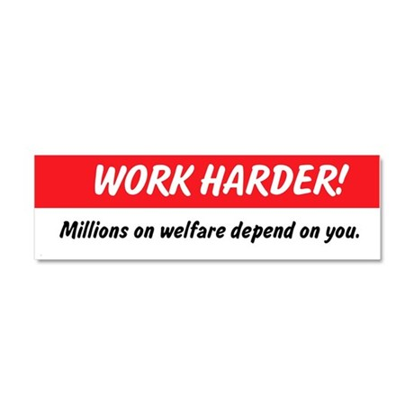 Work Harder Car Magnet 10 x 3