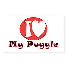 I Love My Puggle Rectangle Decal