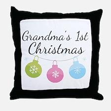 Grandma's 1st Christmas Throw Pillow