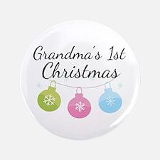 """Grandma's 1st Christmas 3.5"""" Button"""