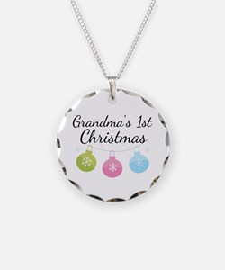 Grandma's 1st Christmas Necklace Circle Charm