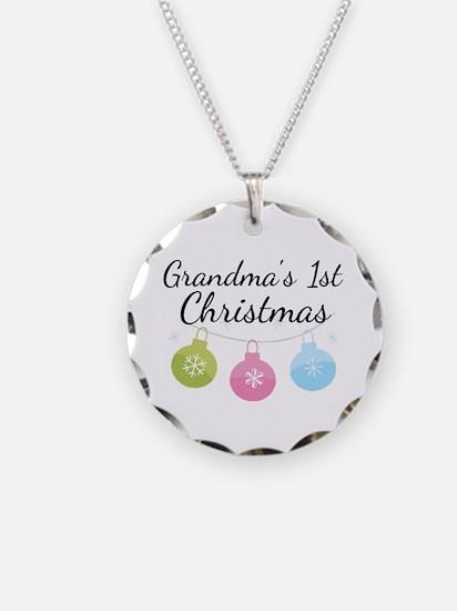 Grandma's 1st Christmas Necklace Circle Charm