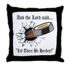 Funny Hockey Throw Pillow