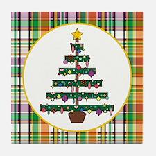 TREE ON PLAID Tile Coaster