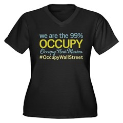 Occupy New Mexico Women's Plus Size V-Neck Dark T-