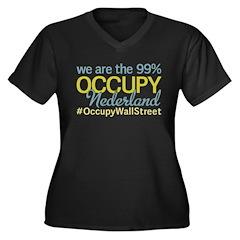Occupy Nederland Women's Plus Size V-Neck Dark T-S