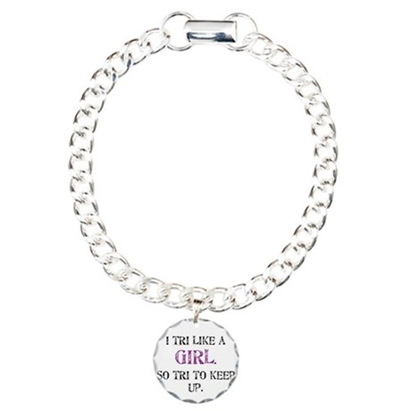 Tri like a girl Charm Bracelet, One Charm