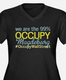 Occupy Magdeburg Women's Plus Size V-Neck Dark T-S