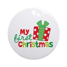 Present My 1st Christmas Ornament (Round)