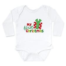 Present My 1st Christmas Long Sleeve Infant Bodysu