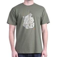 Atlanta Mens T-Shirt White on Military Green