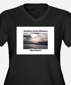 West Beach Women's Plus Size V-Neck Dark T-Shirt