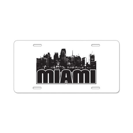 Miami Skyline Aluminum License Plate