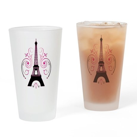 Eiffel Tower Gradient Swirl Drinking Glass