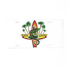 Easy Living Lizard Aluminum License Plate