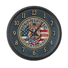 Patriotic - German Shepherd Large Wall Clock