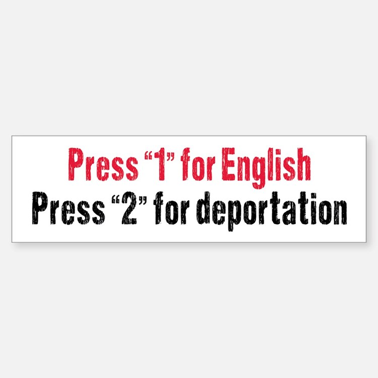 Press 1 for English Bumper Bumper Sticker