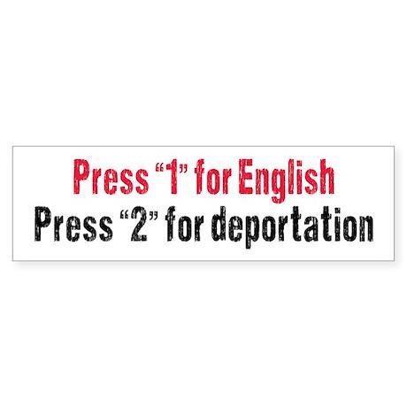Press 1 for English Sticker (Bumper)
