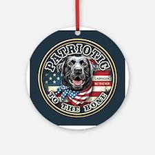 Patriotic - Black Lab Ornament (Round)