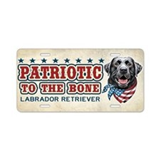 Patriotic - Black Lab Aluminum License Plate