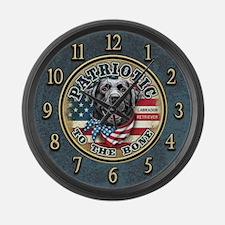 Patriotic - Black Lab Large Wall Clock