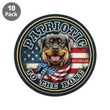 "Patriotic - Rottweiler 3.5"" Button (10 pack)"