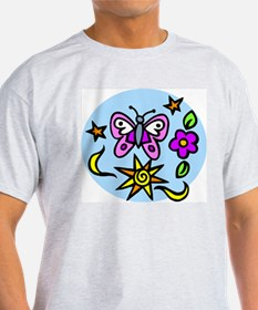 BUtterfly and Flowers Ash Grey T-Shirt