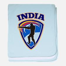 cricket batsman India baby blanket