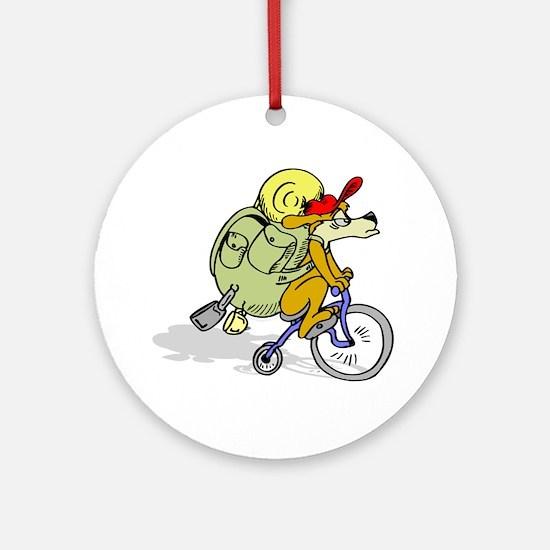 Mountain Bike Dog Ornament (Round)
