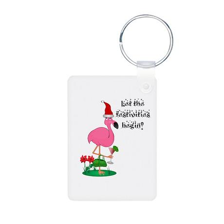 Christmas Flamingo Aluminum Photo Keychain