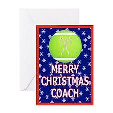 Christmas Tennis Coach Greeting Card