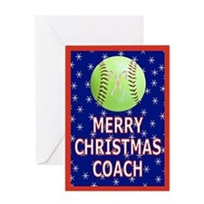 Christmas Softball Coach Greeting Card