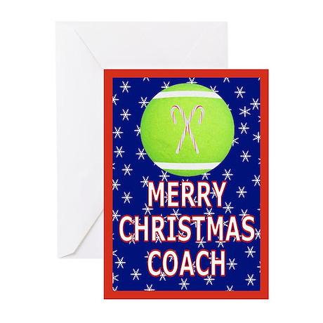 Christmas Tennis Coach Greeting Cards (Pk of 10)