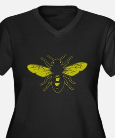 Honey Bee Women's Plus Size V-Neck Dark T-Shirt