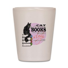Cat and Books 2 Shot Glass