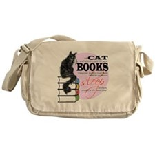 Cat and Books 2 Messenger Bag