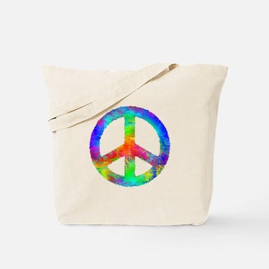 Multicolored Peace Sign Tote Bag