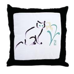 Cat & Flower 1 Throw Pillow